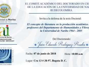 Invitación a la Defensa de tesis del Doctorando Jairo Rodríguez